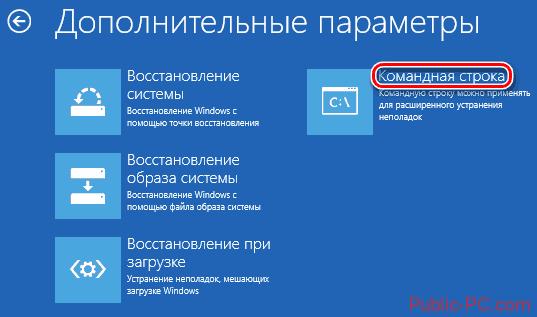 Параметры восстановления Windows-10