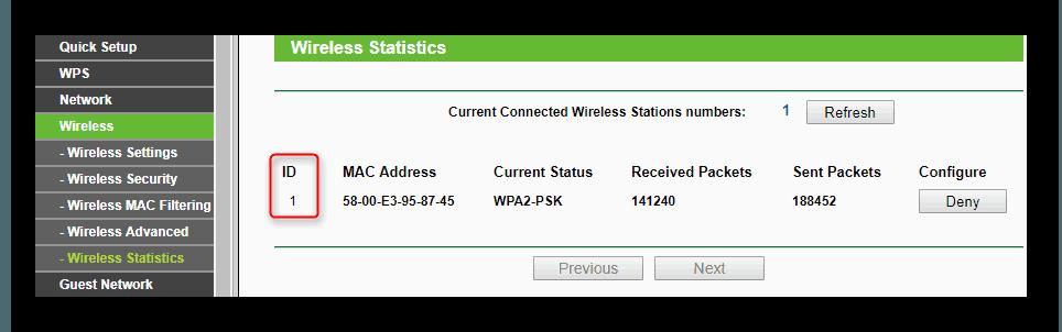 Окно статистики беспроводного режима роутера с подключениямиTP-LINK