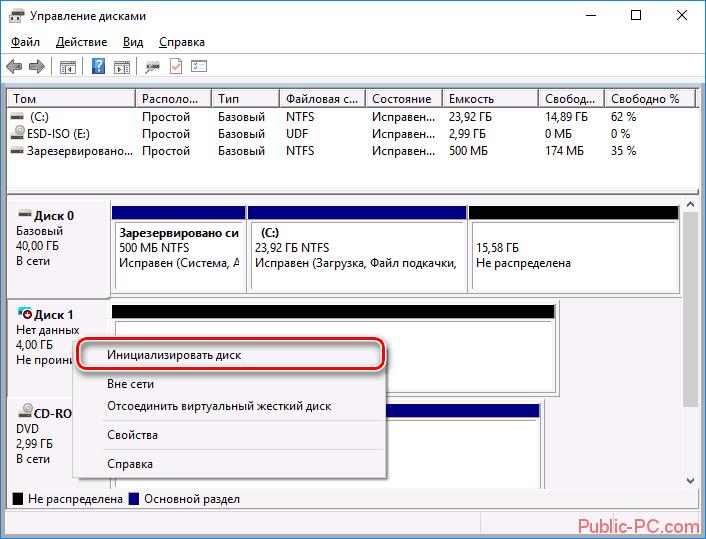 Инициализация дисков