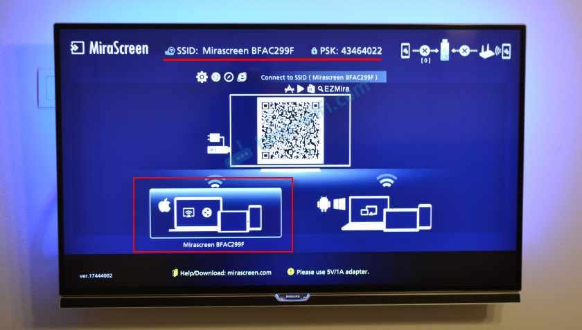 MiraScreen адаптер в режиме AirPlay для подключения Айфона