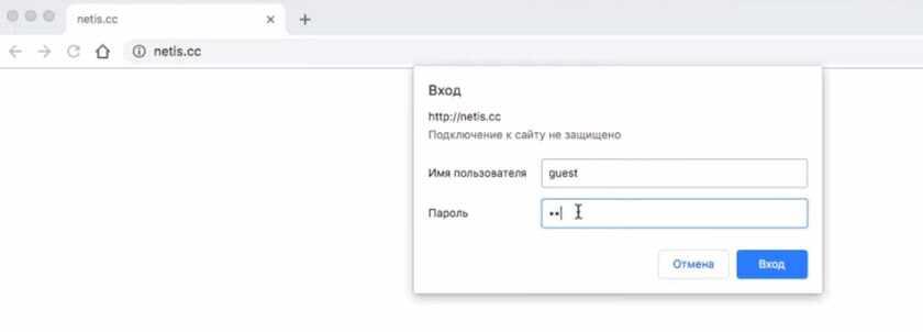 Авторизация в настройках роутера Netis