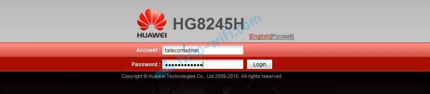 Логин/пароль telecomadmin/admintelecom для вход в Huawei HG