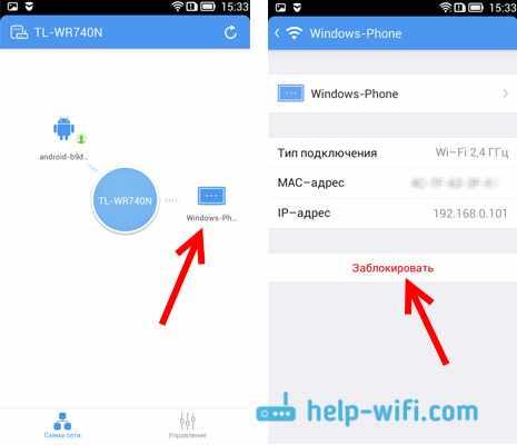 Карта сети, и блокировка Wi-Fi клиентов через TP-LINK Tether