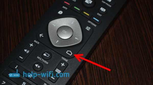 Фото кнопки запуска Android TV на телевизоре Philips